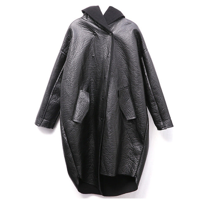 [EAM] Loose Fit Hooded Black Pu Leather Thick Oversize Jacket New Long Sleeve Women Coat Fashion Tide Autumn Winter 2020 JG637