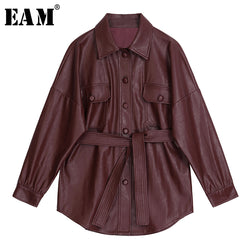 [EAM] 2020 New Autumn Winter Lapel Long Sleeve Wine Red Pu Leather Belt Loose Big Size Jacket Women Coat Fashion Tide JX453