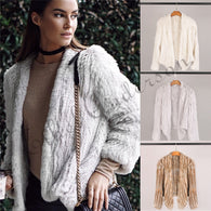 100% Real Knit Rabbit Fur Cardigan Coat Jacket Natural Hand-made Irregular Collar Garment Rabbit Fur Knitted Outerwear Vest