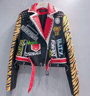 2019 Spring New fashion brand Thailand style rivet beading graffiti embroidery cartton locomotive Pu leather short jacket wq845