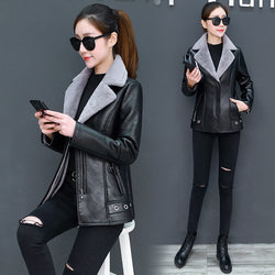 Women's Leather Jacket Turn Collar ThickEN Plus Velvet Fur One Moto & Biker Female Jacket Women Winter Jacket L-5XL
