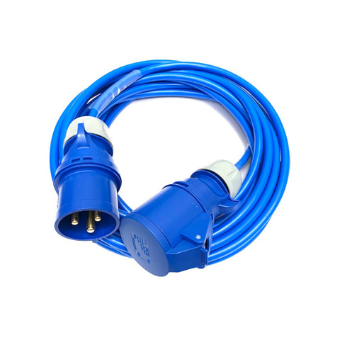 32 Amp 3 Pin Single Phase 240V 4mm² Arctic Blue Extension Cable