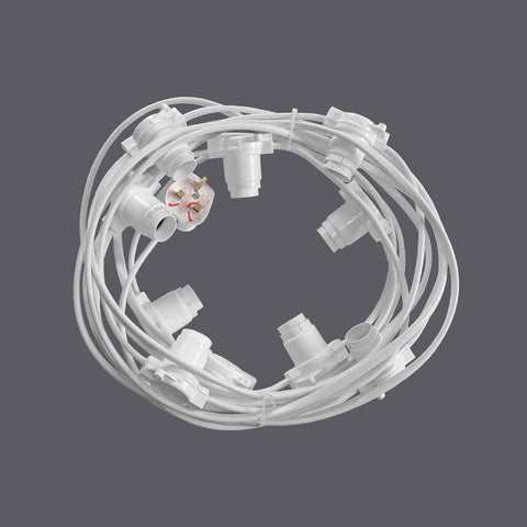 Festoon - 7.5M with 10 Lampholders @ 0.75M Spacing - White RUBBER Cable