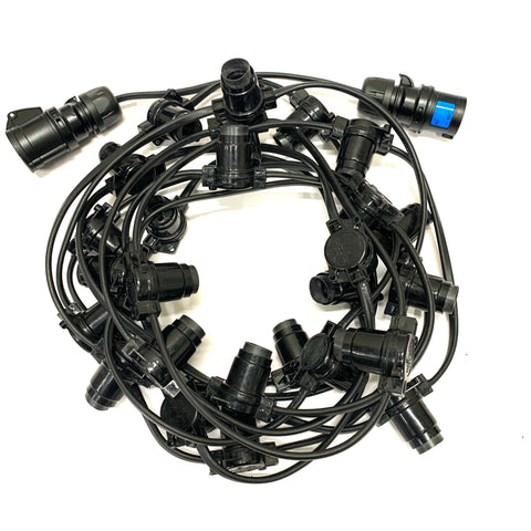 PRO Festoon - 25M with 100 Lampholders @ 0.25M Spacing - Black RUBBER Cable