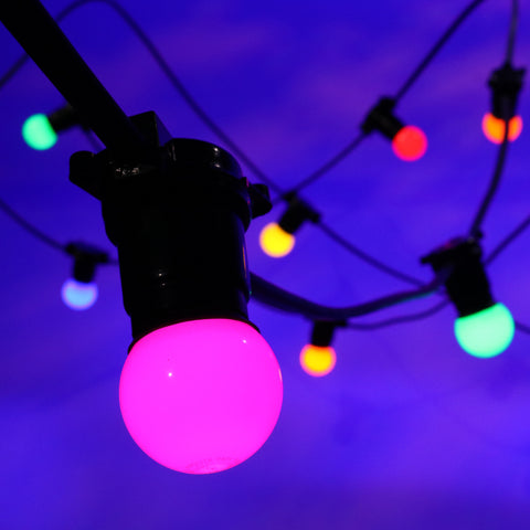 20M Festoon Package | 40 BC Coloured LED Lamps | 0.5M Spacing