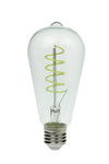 Prolite 240V 4W ES (E27) Green ST64 LED Spiral Funky Filament Lamp