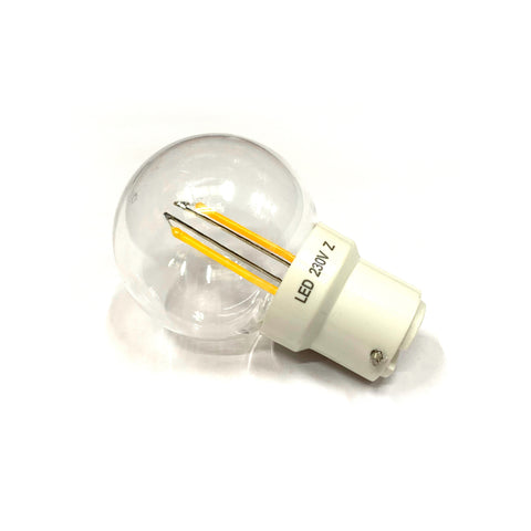 Inno-lite 230V 2W BC (B22) Clear Warm White LED Poly Golf Ball Lamp