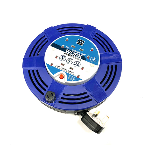 Masterplug 13A 4 Gang Socket Cassette Cable Reel Extension Lead - 12M