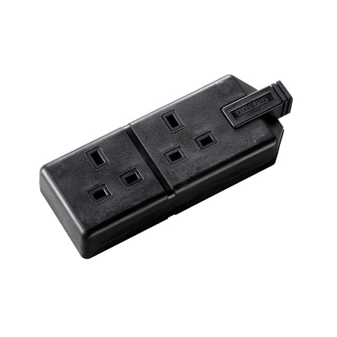 Masterplug Permaplug Heavy Duty 13A 2 Gang Trailing Socket - Black (ELS132B-01)