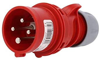 PCE 16A 415V 4 Pin 3P+E IP44 Plug - Red (014-6)