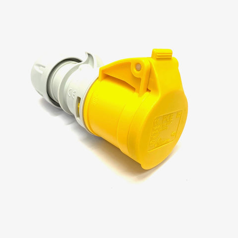 PCE 16A 110V 2P+E IP44 Socket - Yellow (213-4)