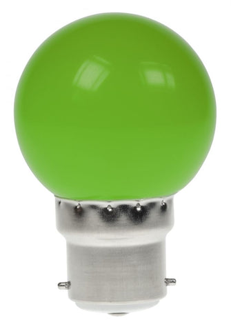 Prolite 240V 1W BC (B22) Green LED Poly Golf Ball Festoon Lamp