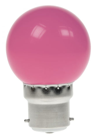 Prolite 240V 1W BC (B22) Pink LED Poly Golf Ball Festoon Lamp