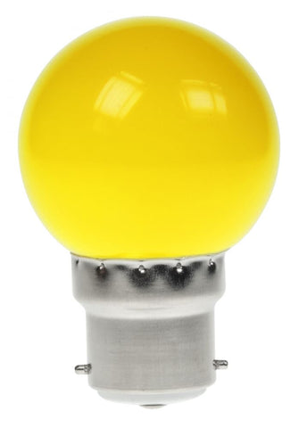 Prolite 240V 1W BC (B22) Yellow LED Poly Golf Ball Festoon Lamp