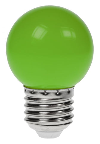 Prolite 240V 1W ES (E27) Green LED Poly G45 Golf Ball Festoon Lamp