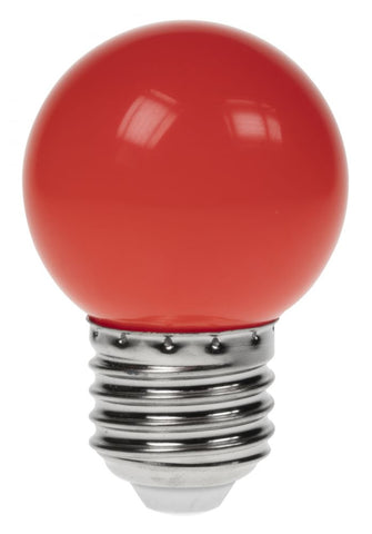 Prolite 240V 1W ES (E27) Red LED Poly G45 Golf Ball Festoon Lamp