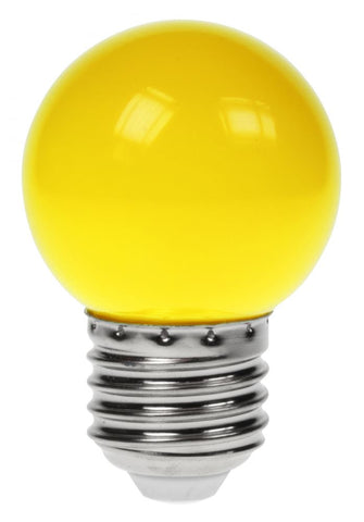 Prolite 240V 1W ES (E27) Yellow LED Poly G45 Golf Ball Festoon Lamp