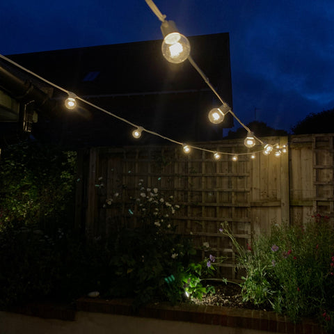 Warm White Festoon Lighting, White Rubber Cable