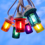 Royale Lanterns - 7.5M with 10 Coloured Lanterns @ 0.75M Spacing - White Cable