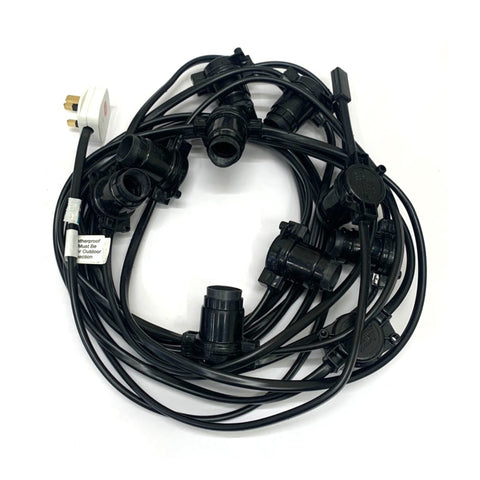 Festoon - 9.75M with 10 Lampholders @ 0.75M Spacing - Black PVC Cable
