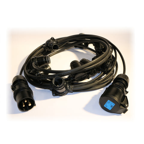 50M Festoon Lighting String (Connectable) 50 Lampholders Rubber