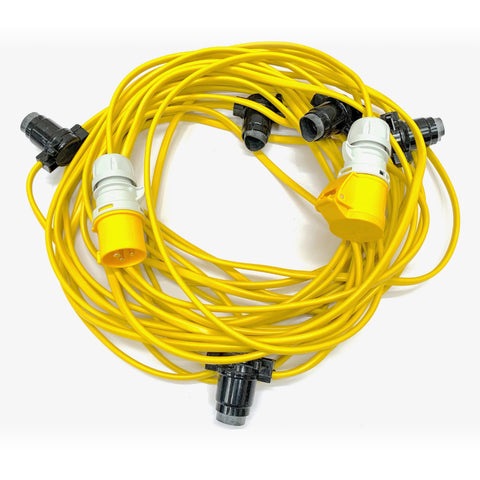 25M 110V Site Festoon Package | 5 ES Lampholders | 5 LED Lamps | 5M Spacing