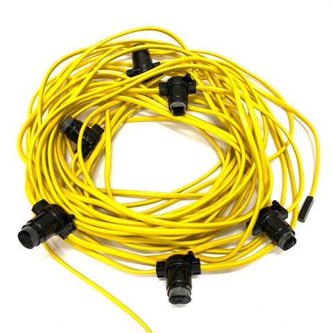 Festoon - 110V Site - 100M with 20 Lampholders @ 5M Spacing - Yellow PVC Cable