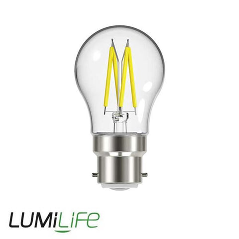 LUMiLiFE 240V 4.8W BC (B22) Clear Warm White LED Glass Golf Ball Festoon Lamp