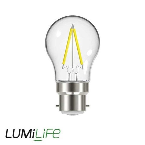LUMiLiFE 240V 2.3W BC (B22) Clear Warm White LED Glass Golf Ball Festoon Lamp