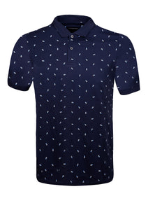 POLO TOP WITH PINEAPPLE PRINT - NAVY