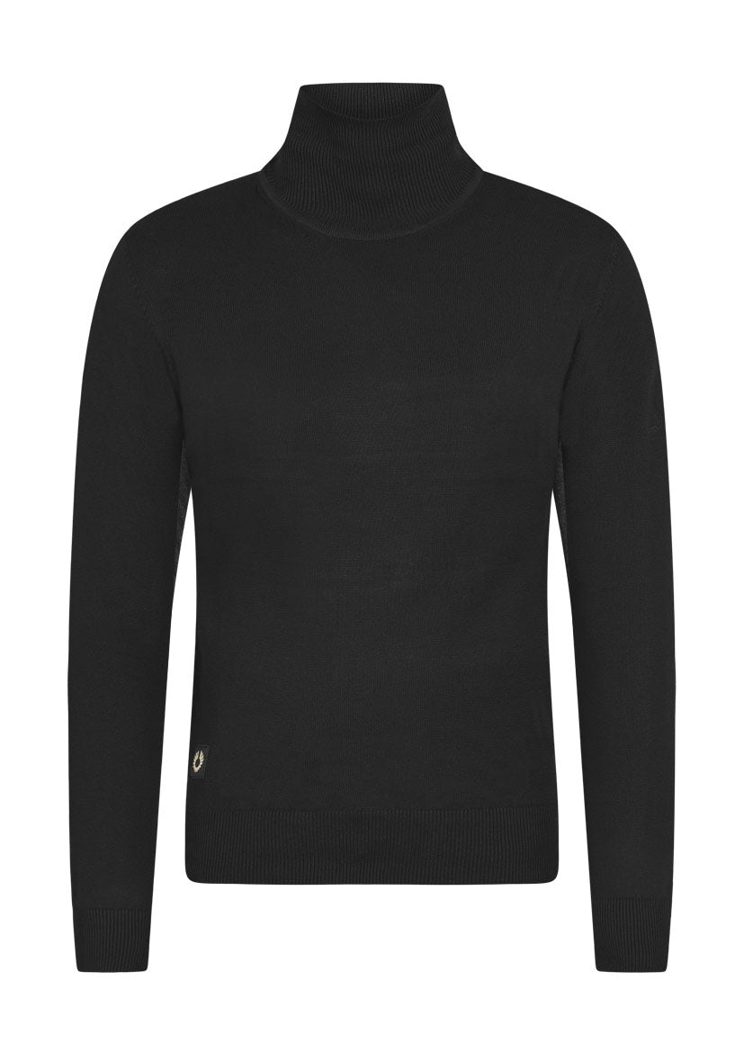 roll neck combed cotton jumper