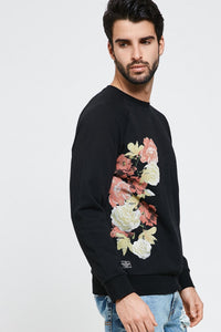 Crew Neck Floral Design Top