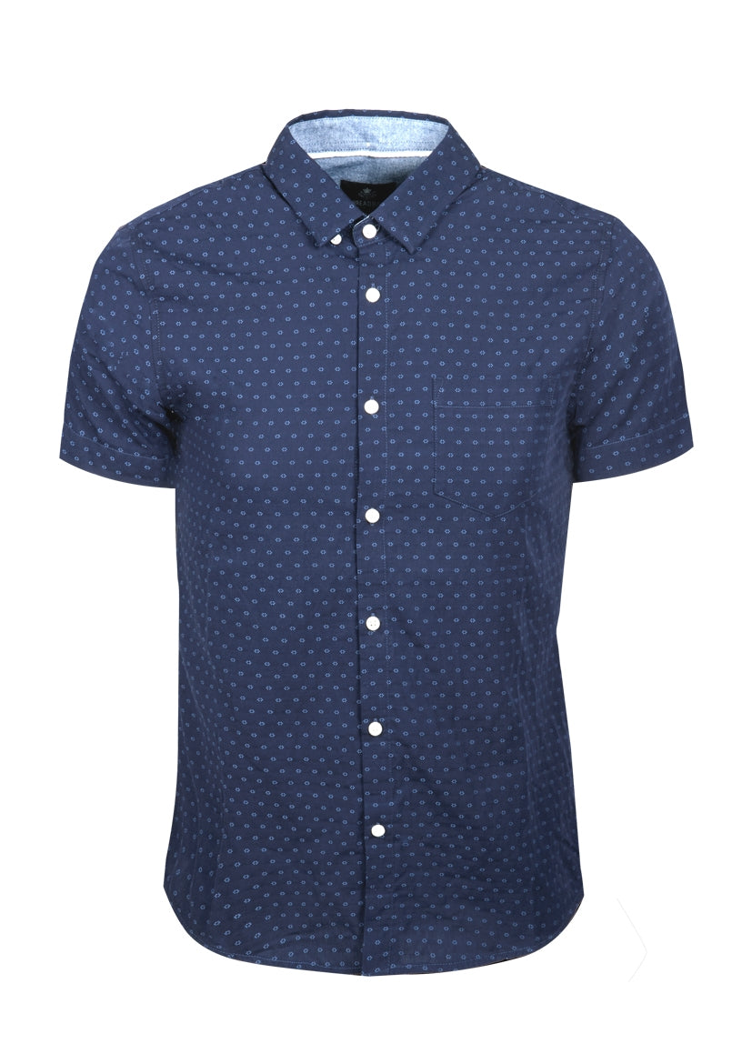 Jacquard Shirt with Geometric Design Navy