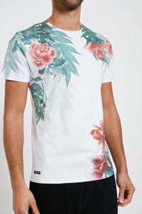 Crew Neck Flower Print T Shirt