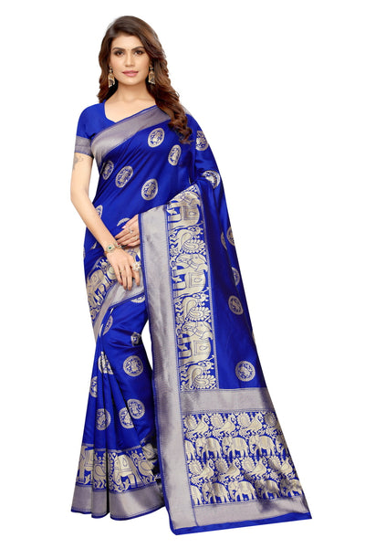 Ladies Kota Silk Saree Hathi Printed