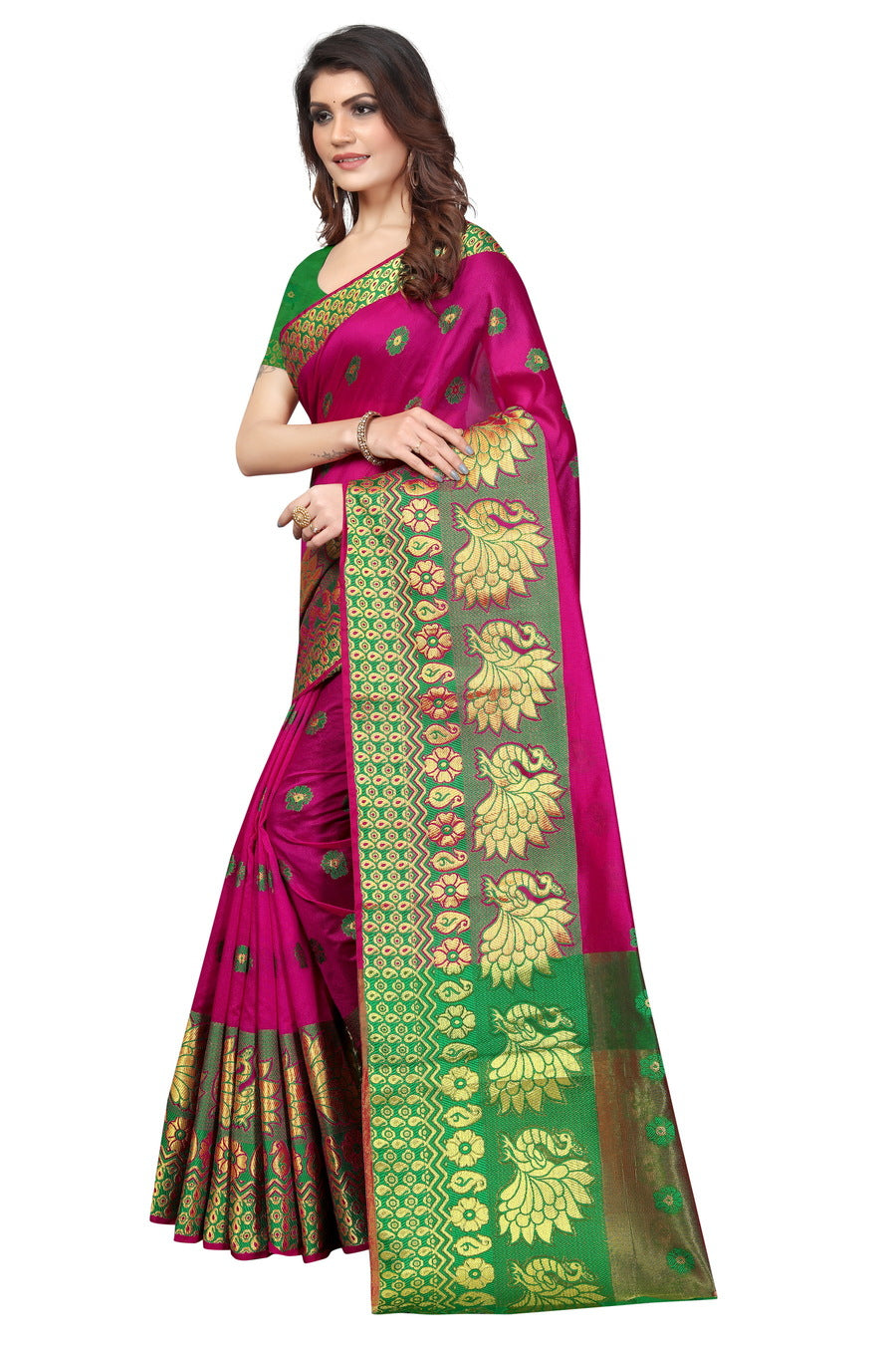 Ladies Peacock Printed Kota Silk Saree, Length: 6.3 m