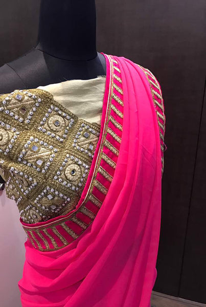 shop n discount - Amazing Designer Pink  Saree Online