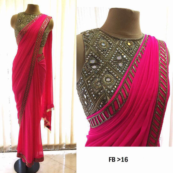 shop n discount -Amazing Designer Pink  Saree Online
