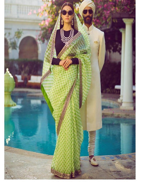 shop n discount - Partywear Light Green Organza Saree For Women