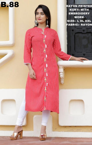 shop n discount - latest Printed Kurti with Embroidery Work