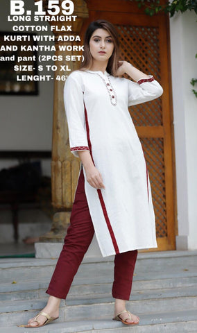 Long Straight Cotton Flax Kurti With Adda And Kantha Work