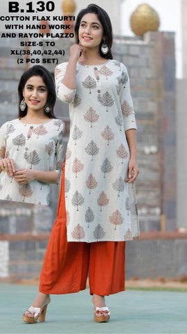 Cotton Flax Kurti With Hand Work and Rayon Plazzo