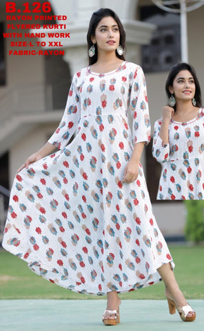 shop n discount - Rayon Printed Flyered Kurti With Hand Work