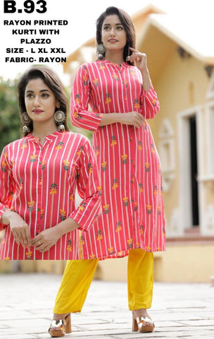 shop n discount  - Rayon Printed Kurti With Plazzo