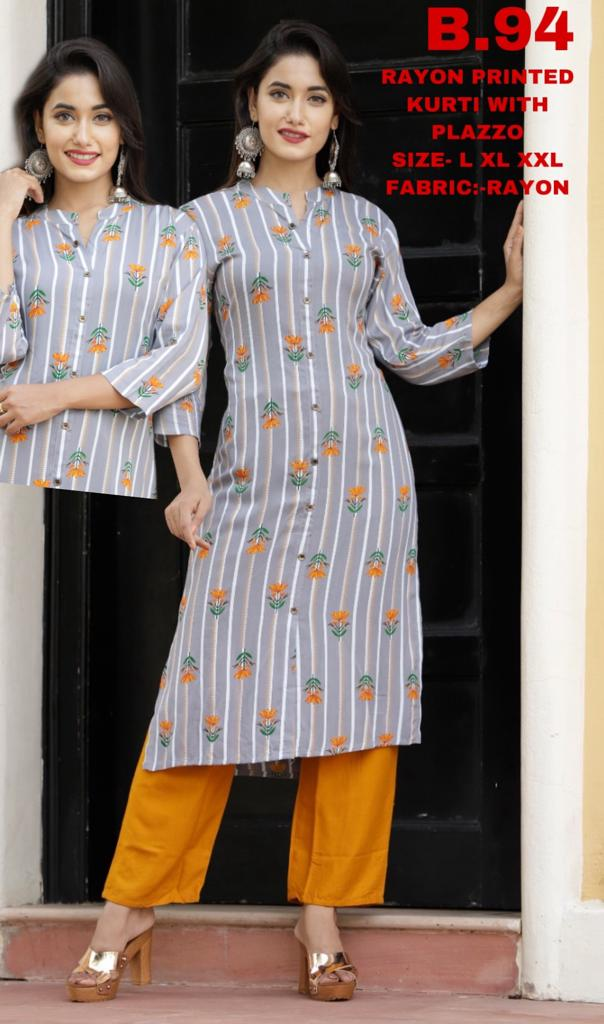 shop n discount - Rayon Printed Kurti With Plazzo Set