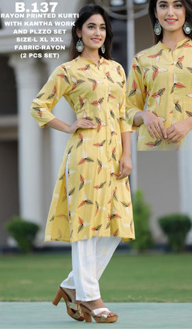 Rayon Printed Kurti With Kantha Work And Plazzo Set