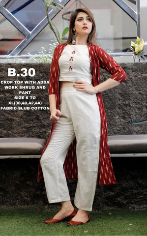 White And Maroon Crop Top With Shrug And Pant