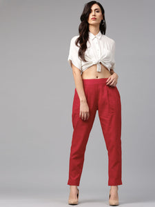 Superb White Crop Top With Red Pant