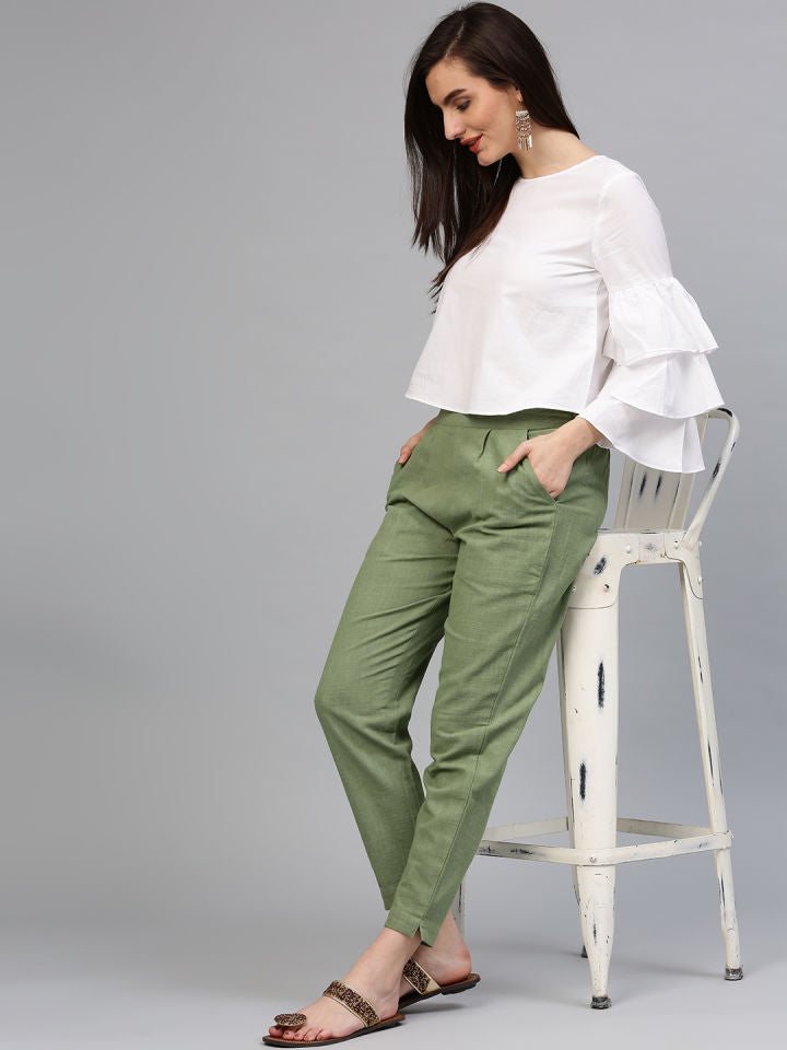 Amazing White Crop Top  And Bottle Green Pant