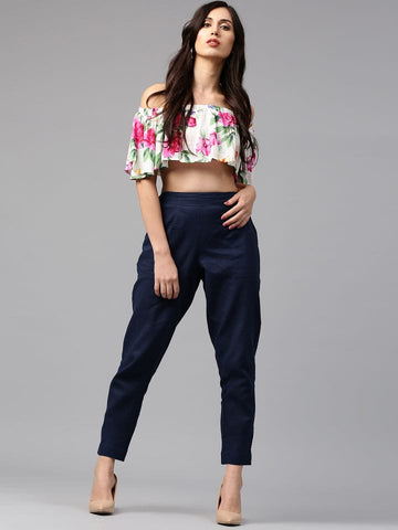 Stylish Flora Crop Top And Black Pant
